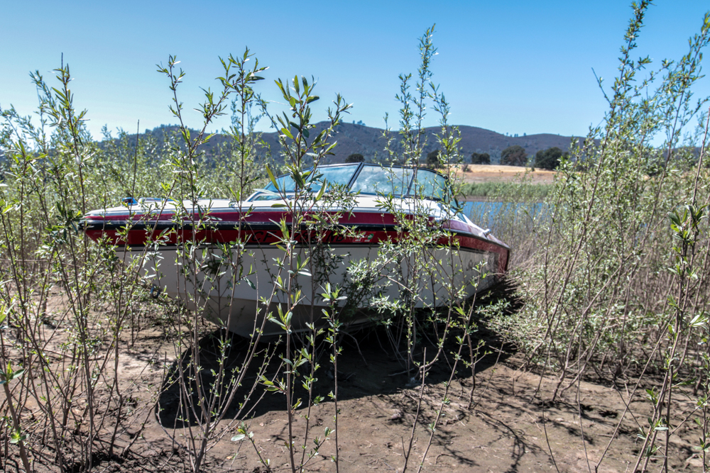 Beached Boat on Folsom Lake in 2016